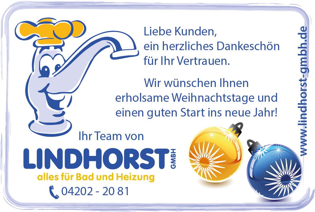 Weihnachtsanzeige der Firma Friedrich Lindhorst GmbH
