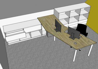 Büroplan Arbeitspltz mit Ablagebereich in der Dachschräge