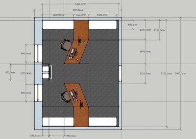 Büroplan Ansicht oben mit Maßangaben