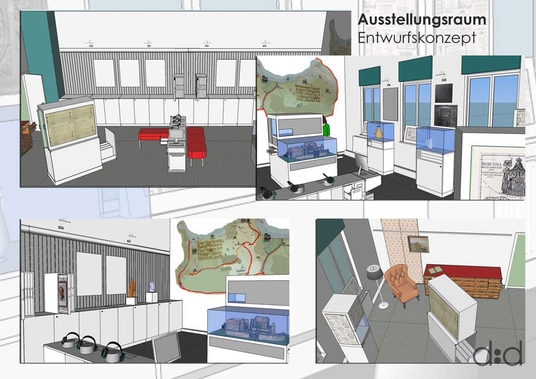Collage Entwurfskonzept Ausstellungsraum Goldenstedt