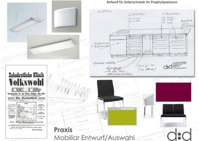 Entwurfskonzept Zahnarztpraxis mit Möbelentwurf und Mobiliarauswahl