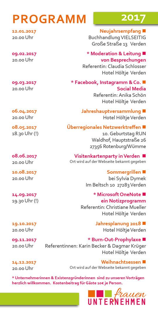 Flyer Jahresprogramm Frauenunternehmen 2017