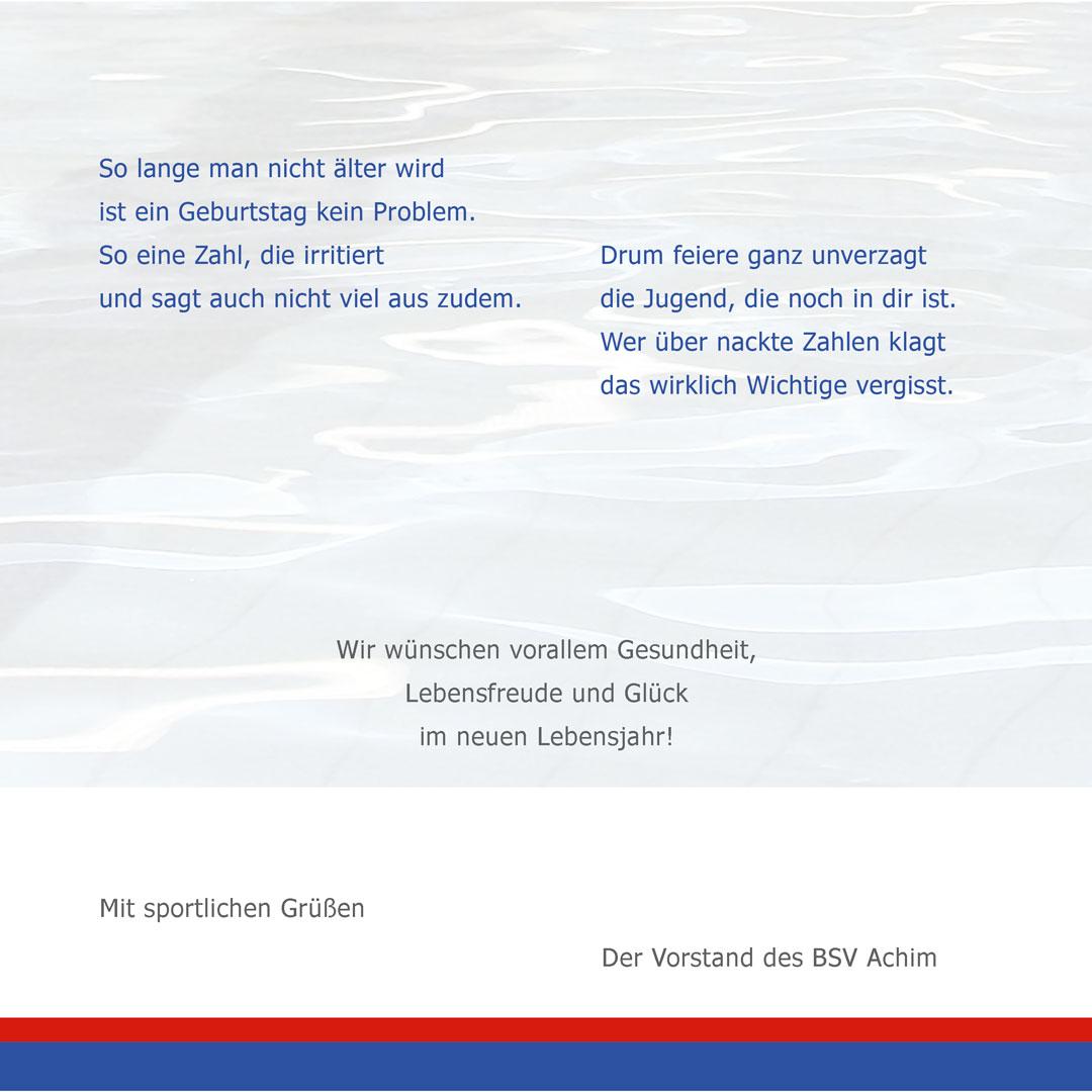 Geburtstagskarte 60 Jahre BSV Achim e.V. innen