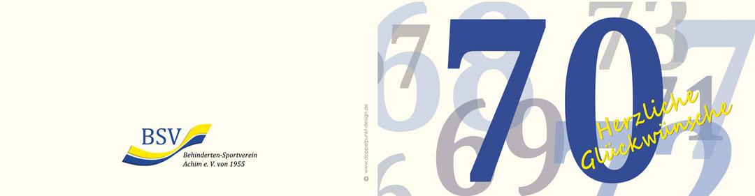 Geburtstagskarte 70 Jahre BSV Achim e.V. aussen