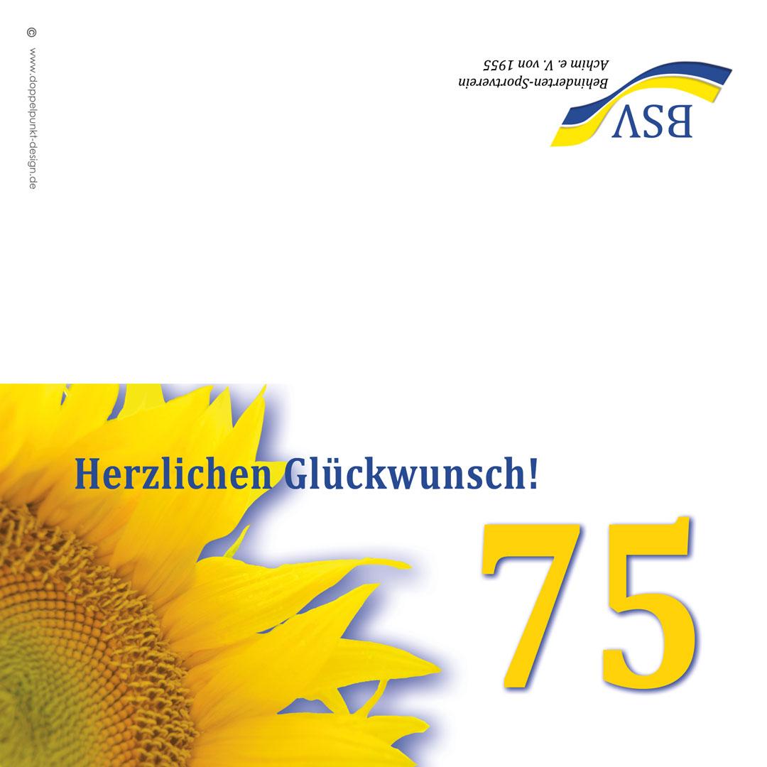 Geburtstagskarte 75 Jahre BSV Achim e.V. aussen