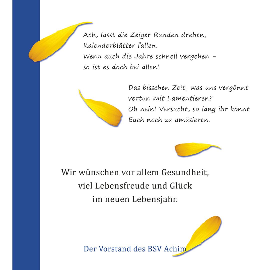 Geburtstagskarte 75 Jahre BSV Achim e.V. innen