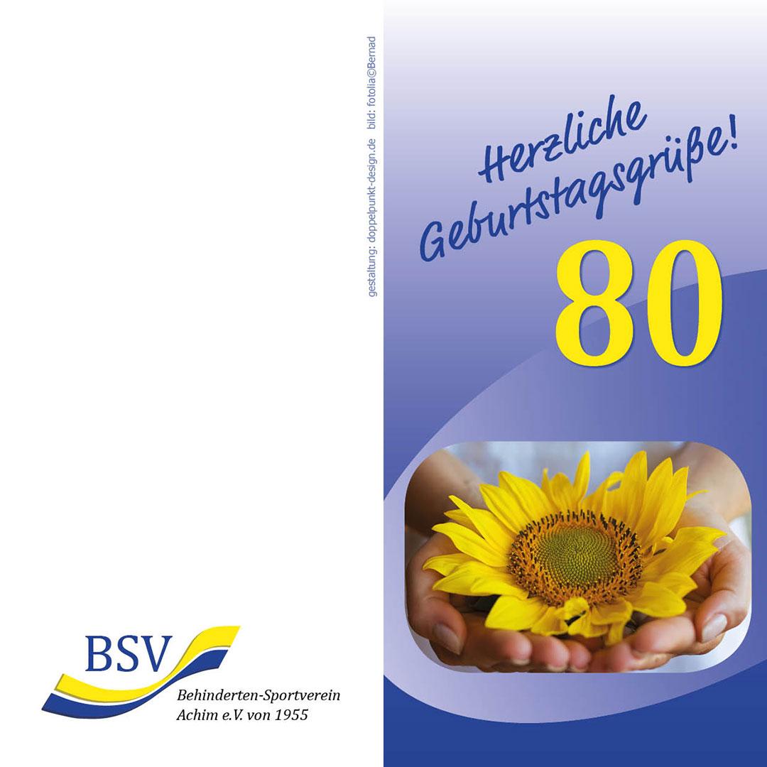 Geburtstagskarte 80 mit Sonnenblume BSV