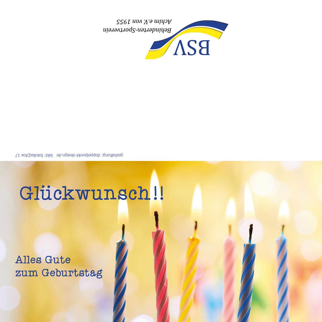 Geburtstagskarte mit Kerzen BSV