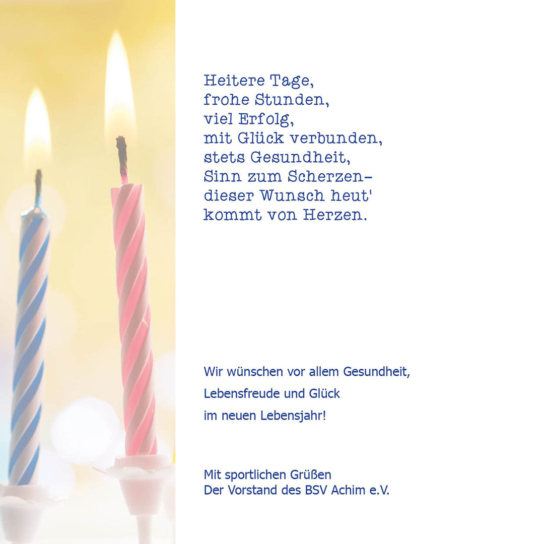 Geburtstagskarte mit Kerzen BSV innen