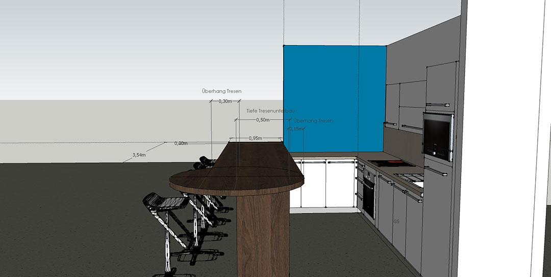 Küchenzeile und Tresen Visualisierung
