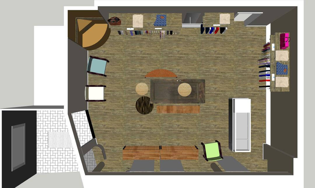 Visualisierung Verkaufsraum Schmiede Nr.5 von oben
