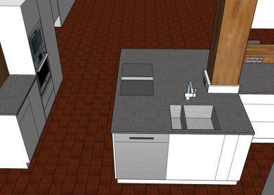 Visualisierung Küche Inselelement Arbeitsbereich mit Spüle und Kochfeld