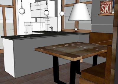 Visualisierung Küche Sitzecke mit Polstereckbank