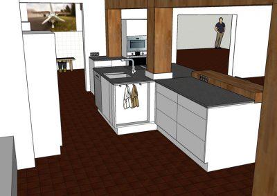 Visualisierung Küche hinter dem Tresen Arbeitsbereich