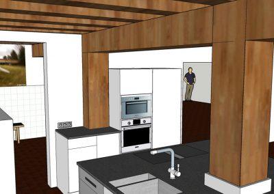 Visualisierung Küche mit Blick in den HWR