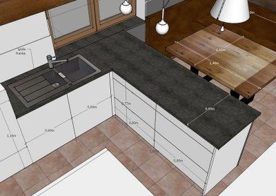 Visualisierung Küche Tresen als Raumteiler
