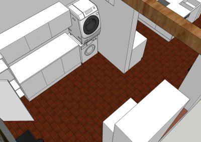 Visualisierung Wanddurchbruch zwischen Küche und HWR von oben