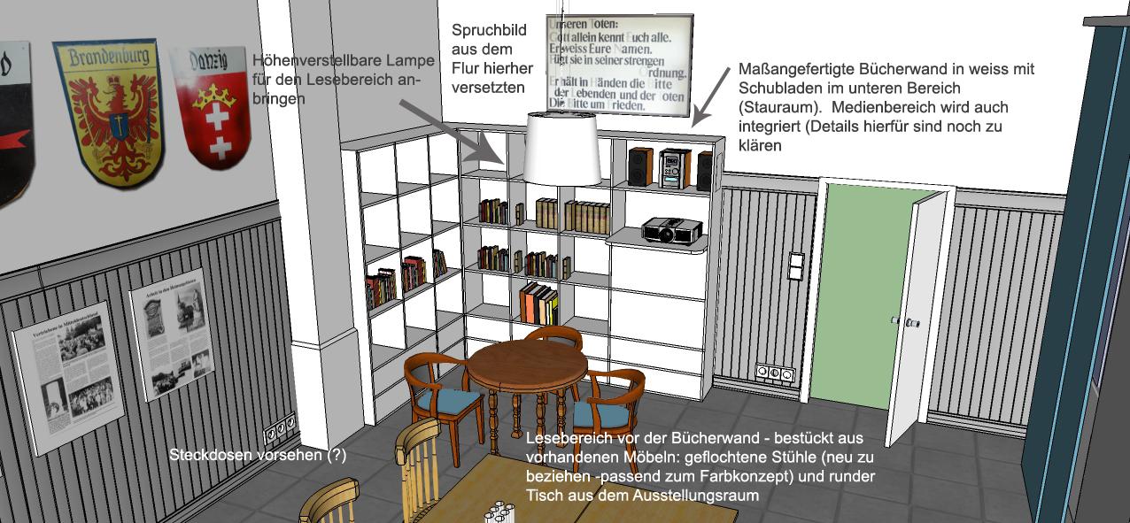 Visualisierung Veranstaltungsraum Bibliothek Heimatstube Goldenstedt