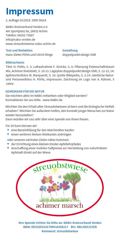 Broschüre Impressum Streuobstwiese Achimer Marsch