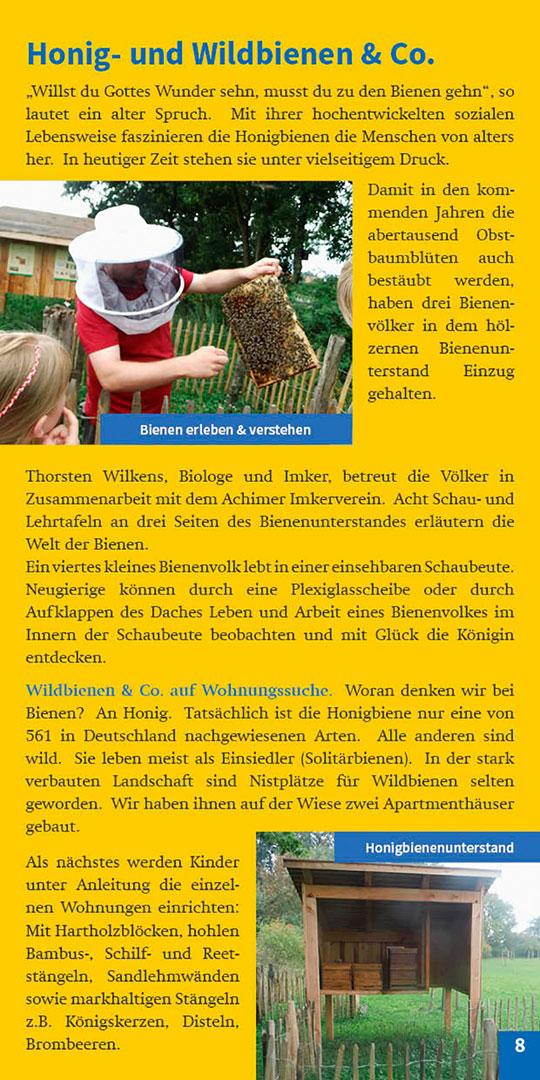 Broschüre Seite 8 Honig und Bienen Streuobstwiese Achimer Marsch