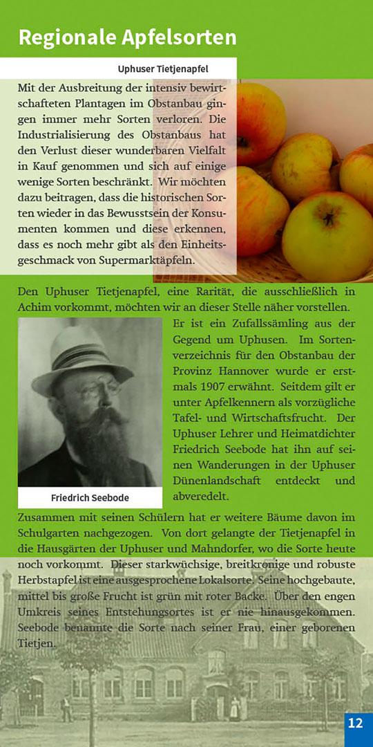 Broschüre Seite 12 Regionale Apfelsorten Streuobstwiese Achimer Marsch