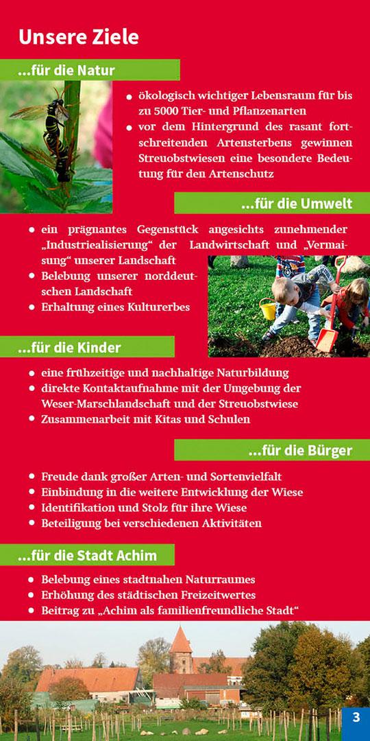 Broschüre Seite 3 Ziele Streuobstwiese Achimer Marsch