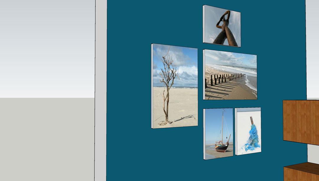 Visualisierung Bilderhängung Kaminwand
