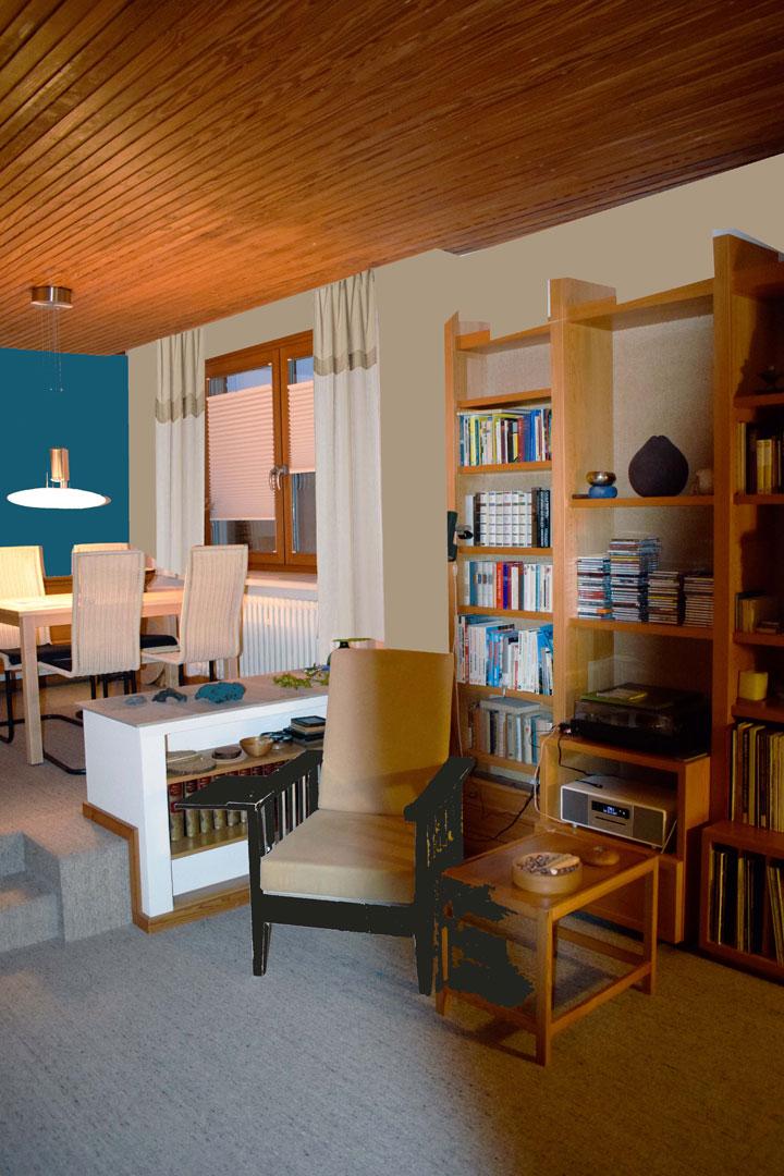 Visualisierung Wohnzimmer zu Esszimmer