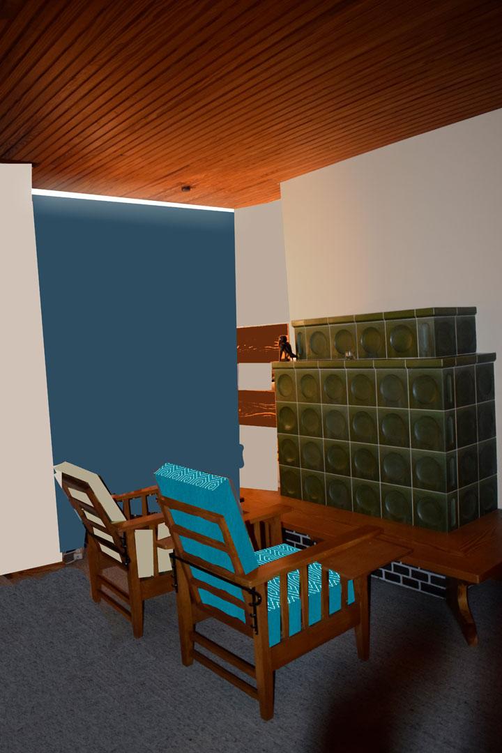 Visualisierung Wohnzimmer Kachelofen